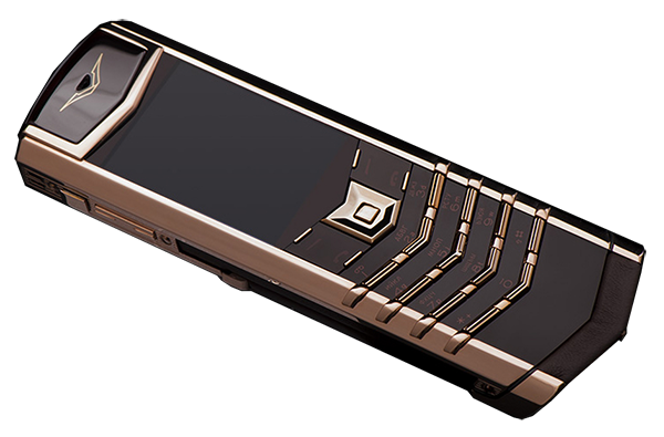vertu signature s design red gold brown leather russian